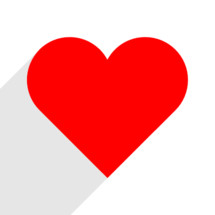Red heart with gray long shadow. The red heart icon is on white background. The red heart symbol for love emotions created in flat design style. The multimedia red heart button is intended for an audio music or movie video player. The red heart icon for the content you like is designed to use a Graphical User Interface. The medical red heart sign can be used for the cardiology department at the clinic for heart disease. The design graphic element is saved as a vector illustration in the EPS file format for your design projects.