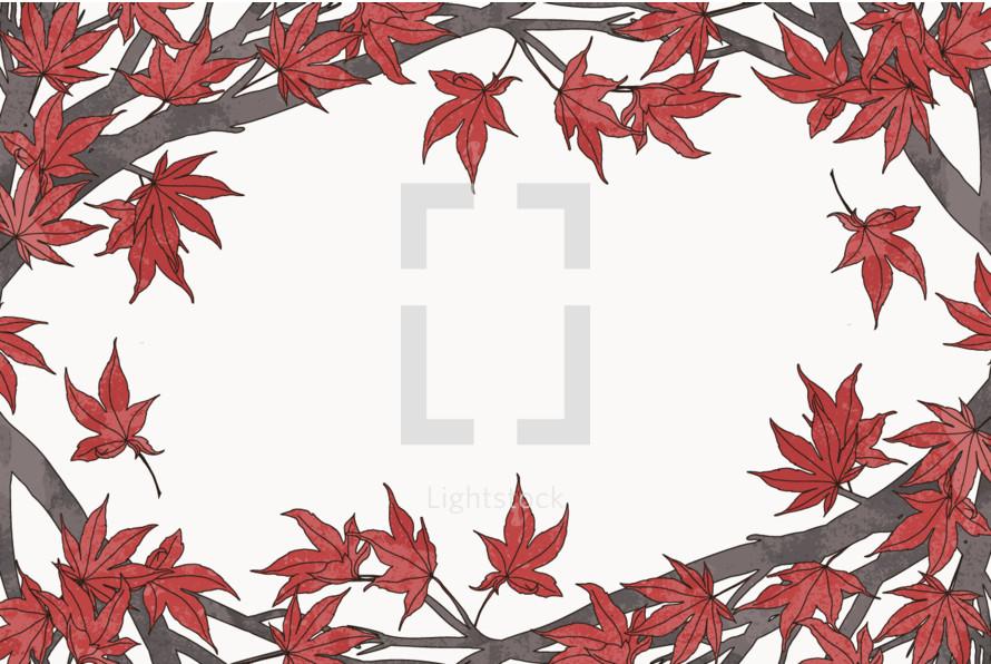 red maple leaves frame