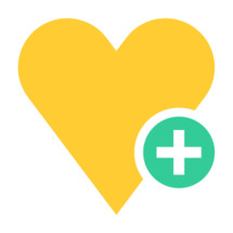 heart + symbol. Yellow heart icon favorite sign liked button with green plus pictogram created in trendy flat style. Quick and easy recolorable shape isolated from the white background. The design graphic element saved as a vector illustration in the EPS file format for used in your design projects.