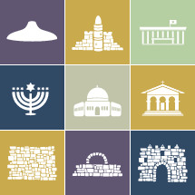 Set of 9 icons symbolizing the City of Jerusalem: Shrine of the Book (displaying the ancient Dead Sea scrolls), Walls of Jerusalem, different Towers, the dome of the Rock, The Church in the garden of Gethsemane, a Menorah, a typical gate in Jerusalem's walls and the dome of the rock