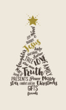 Christmas tree made of Christmas words.