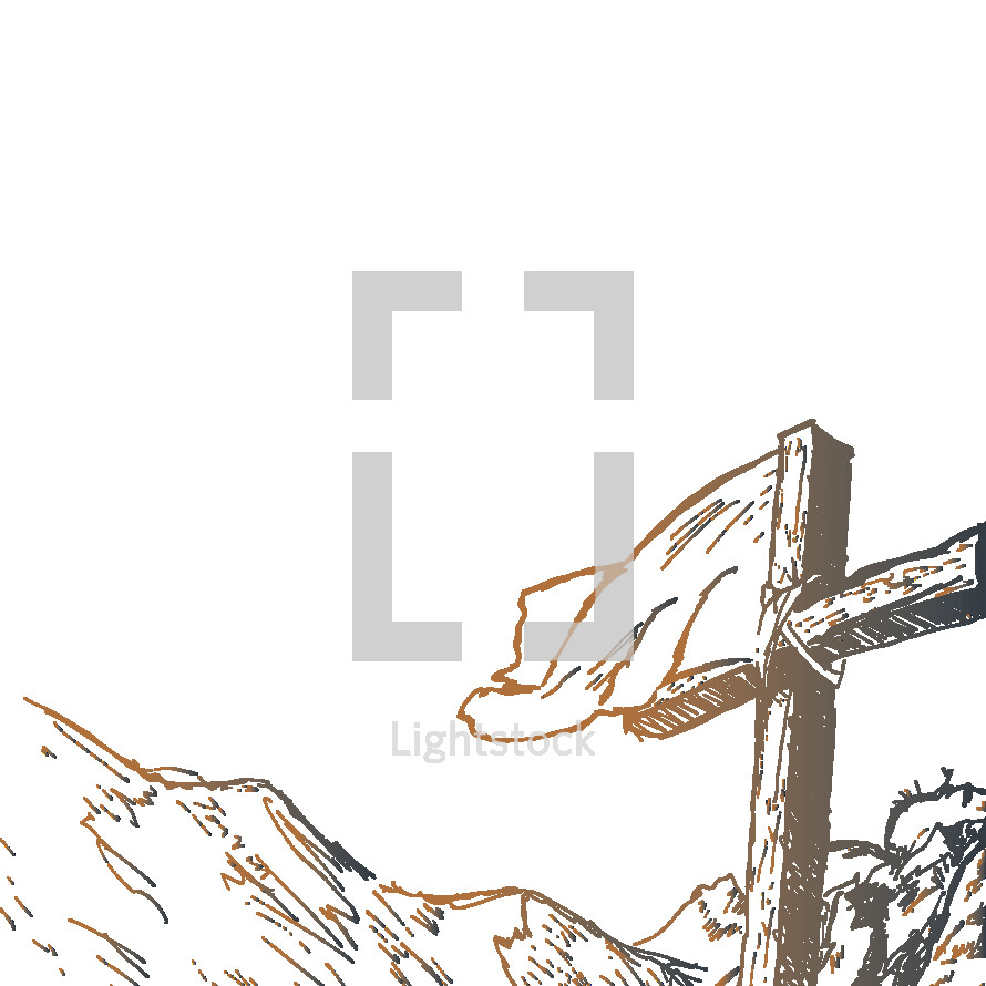 cross with banner sketch
