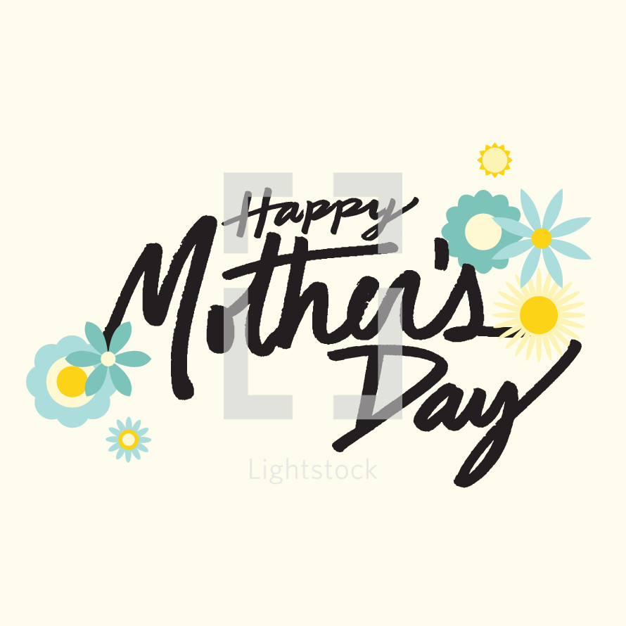 Happy mothers day typography.