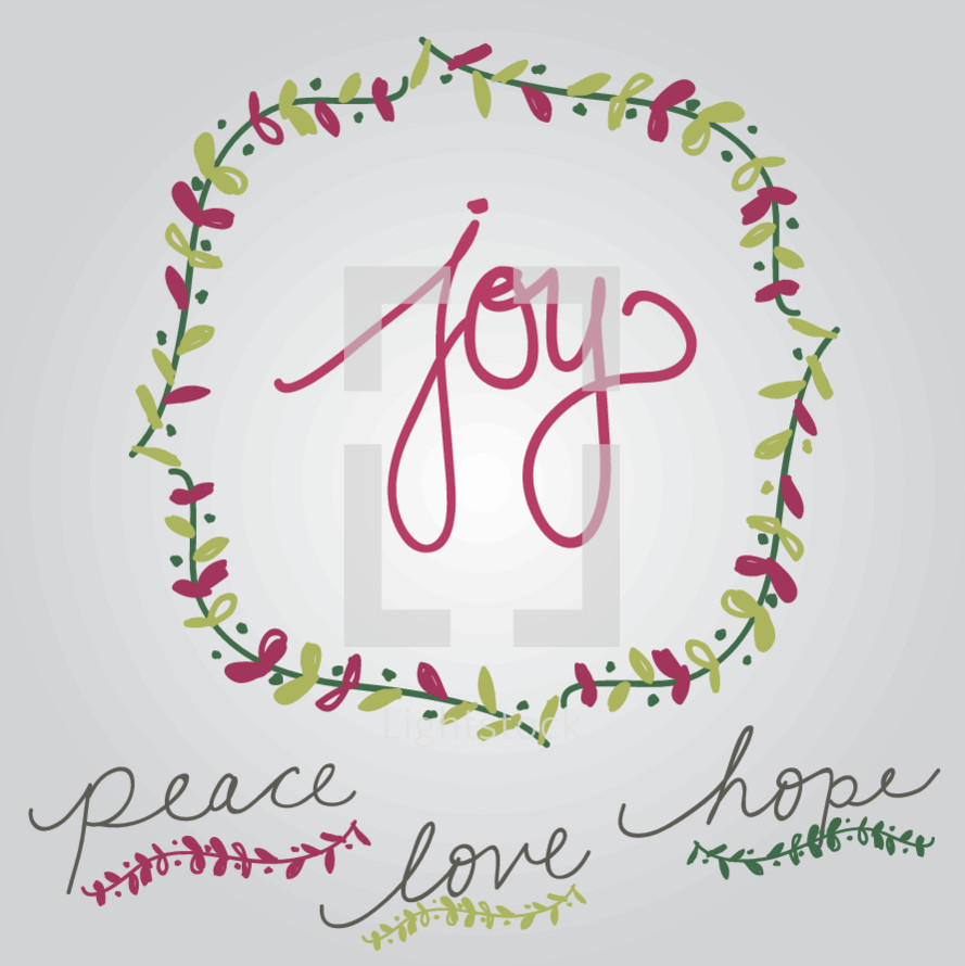 joy, peace, love, hope, border, vines