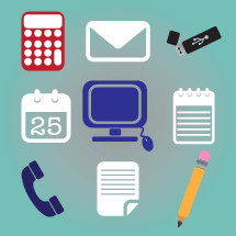 office supplies, pencil, paper, notepad, phone, calendar, 25th, computer screen, computer mouse, calculator, illustration, envelope, mail, flash drive, memory stick