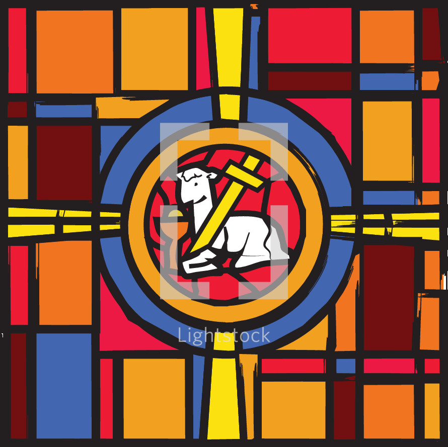 Paschal lamb stained glass window.