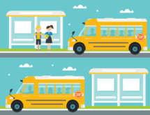 bus stop, school bus, back to school, school, icon, children, boy, girl, icons