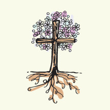 tree cross with flower and roots