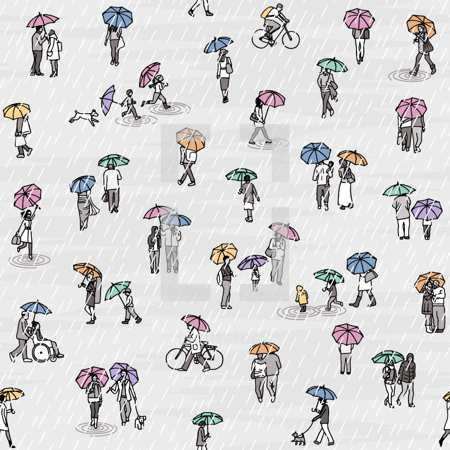 tiny people with umbrellas