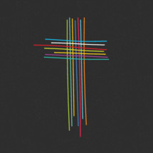 cross of colorful lines logo