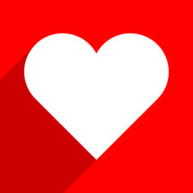 White heart on red with long drop shadow. The red heart icon is on white background. The red heart symbol for love emotions created in flat design style. The multimedia red heart button is intended for an audio music or movie video player. The red heart icon for the content you like is designed to use a Graphical User Interface. The medical red heart sign can be used for the cardiology department at the clinic for heart disease. The design graphic element is saved as a vector illustration in the EPS file format for your design projects.