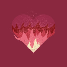 heart on fire illustration.
