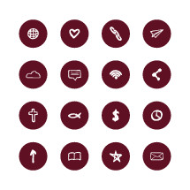 christian hand drawn icons, arrow, up, bible, star, envelope, clock, money symbol, $, Jesus fish, cross, atoms, heart, globe, thought bubble , chains, paper airplane, paper plane, cloud, wifi