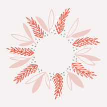 hand drawn wreath illustration.