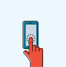 modern illustration of a finger pointing to a smart phone.