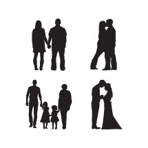 family, silhouettes, bride, groom, child, man, woman, brother, sister, mother, father, son, daughter, love, kissing, holding hands