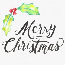 Water color Merry Christmas hand lettering  with holly and water color texture background.