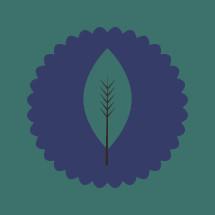 gren leaf on purple badge