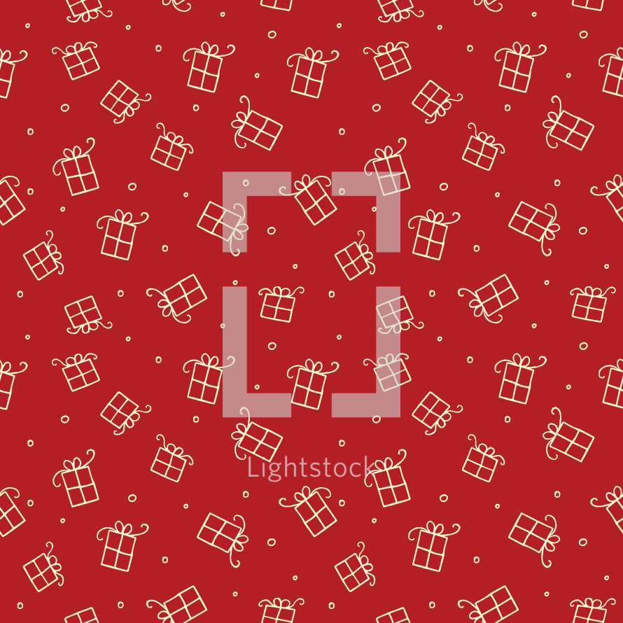 hand drawn red and white Christmas presents pattern.
