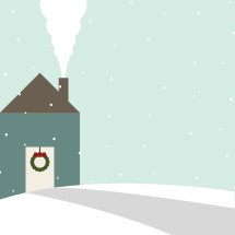winter house with Christmas wreath in snow