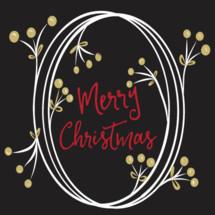 Merry Christmas  Hand Drawn Wreath