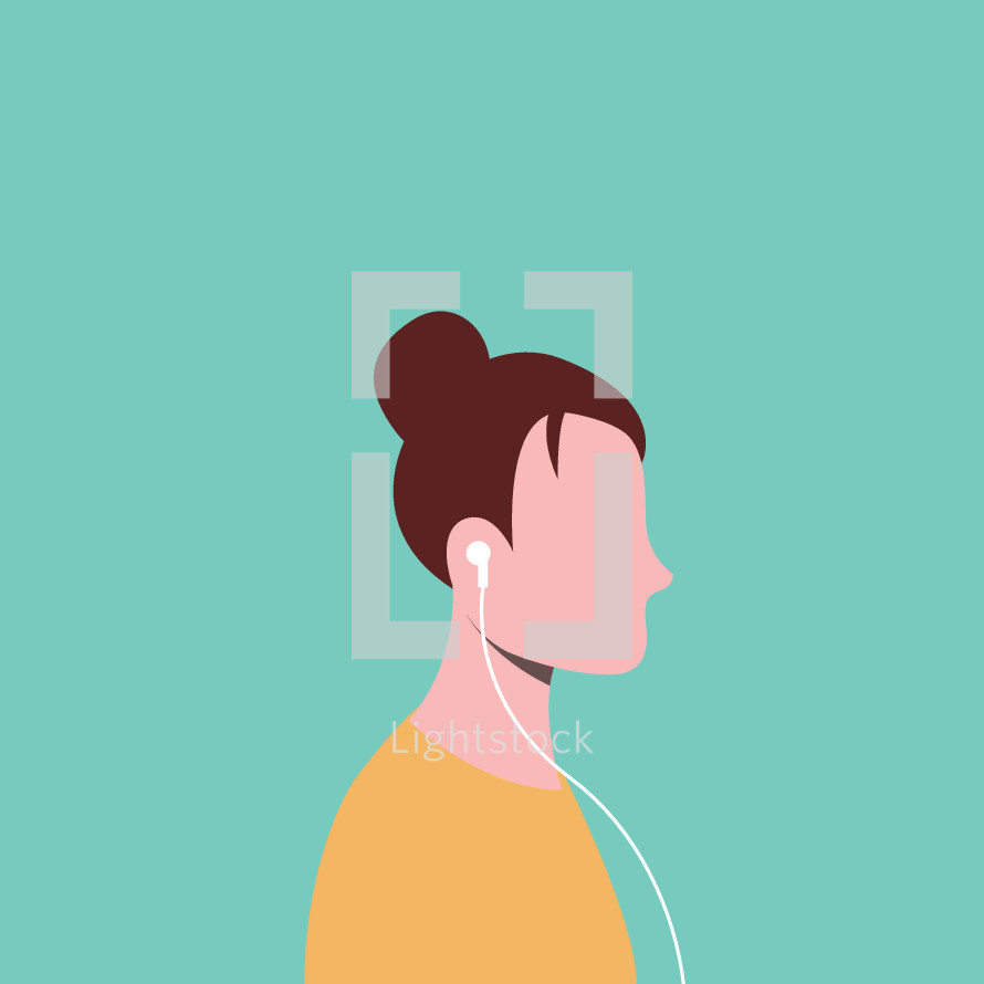woman listening to earbuds