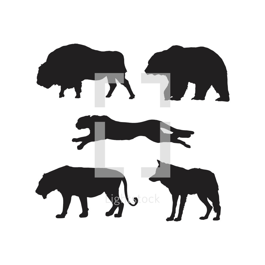 strong animals icons