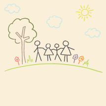 kids drawing of a family