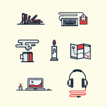 headphones, computer, work, map, candle, flame, candlestick, coffee mug, mug, steam, keyboard, mouse, computer mouse, books, icon