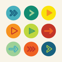colorful play buttons icon pack.