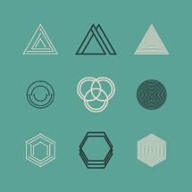 geometric, shapes, polygons, hexagon, triangle, trinity, circles