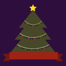 Christmas tree with banner