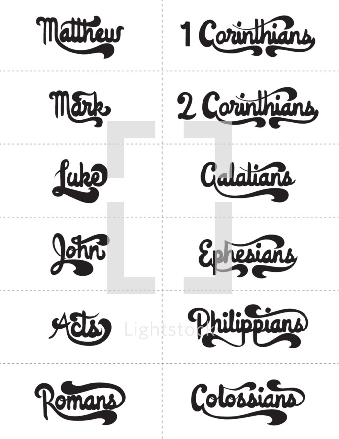 Matthew, Mark, Luke, John, Acts, Romans, Colossians, Philippians, Ephesians, Galatians, 2 Corinthians, 1 Corinthians, Bible books
