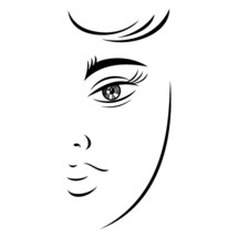face. Half woman face with unusual eyes. Recolorable shape isolated from background. Vector illustration is a graphic element for artistic design.