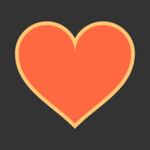 red heart with yellow contour isolate on gray background. The red heart icon is on dark background. The red heart symbol for love emotions created in flat design style. The multimedia red heart button is intended for an audio music or movie video player. The red heart icon for the content you like is designed to use a Graphical User Interface. The medical red heart sign can be used for the cardiology department at the clinic for heart disease. The design graphic element is saved as a vector illustration in the EPS file format for your design projects.