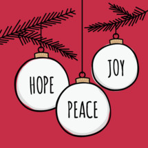 Christmas tree ornaments with hope peace joy words in hand drawn lettering