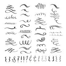 hand drawn flourishes elements.