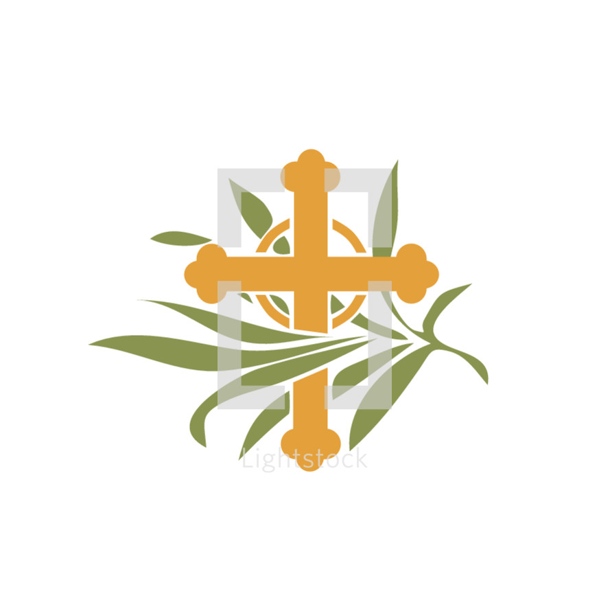 cross and palms icon