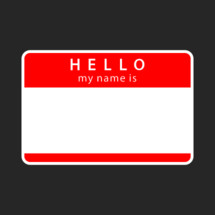 Hello my name is empty sticker. Red blank name tag badge is rounded rectangular shape. A name tag is a badge or sticker that is required to display the owner's name for other people to view. Quick and easy recolorable shape isolated from the dark gray background. The design graphic element saved as a vector illustration in the EPS file format for used in your design projects.