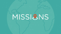 Missions word on a world map background