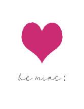 words Be Mine and fuchsia heart