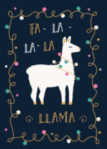 Christmas or Winter Holidays Card with llama and Festive Lights