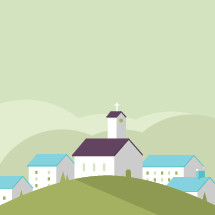 country church on a hill illustration