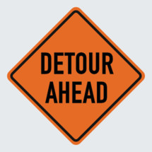 detour ahead road sign