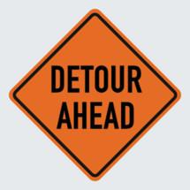 detour ahead road sign