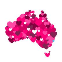 hearts, love, Australia, icon