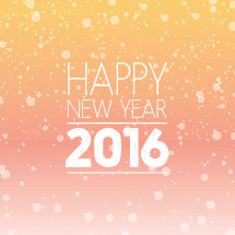Happy New Year 2016 typography with colorful gradient background.