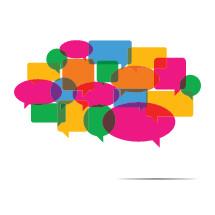 colorful conversation bubbles.