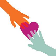 hands touching a heart