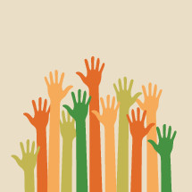 vector illustration of colorful hands raised high together.